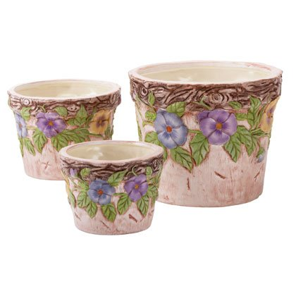 3 PC PANSIES POTS SET
