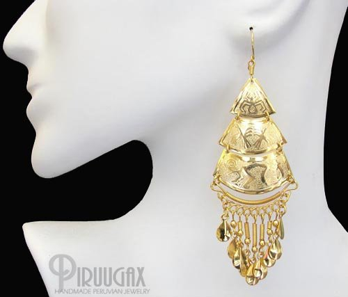 NAZCA LINES Rich 18K Gold plated Chandelier Earrings