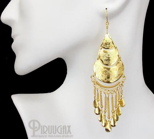 ANDEAN CARNIVAL Rich 18K Gold plated Chandelier Earrings