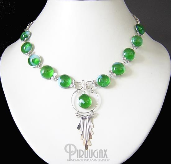 IMPERIAL SPLENDORS Silver EMERALD GREEN Murano Glass Necklace