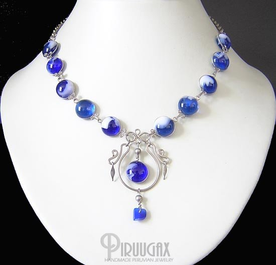 NIGHT STAR Silver SAPPHIRE BLUE Murano Glass Necklace