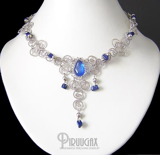 MOONLIGHT Silver SAPPHIRE BLUE Murano Glass Necklace