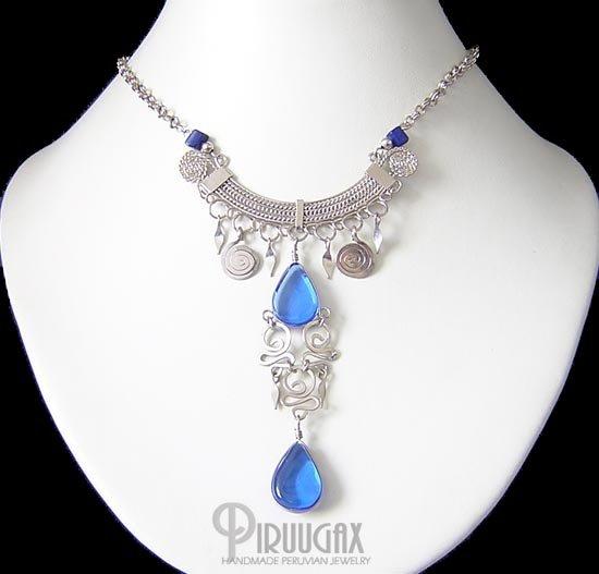 HEAVEN Silver SAPPHIRE BLUE Murano Glass Necklace