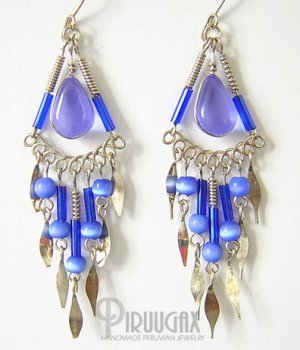 TRANSLUCENT BLUE Gorgeous Silver Lucite beads Chandelier Earrings