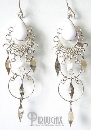 WHITE Silver Lucite Beads Chandelier Earrings