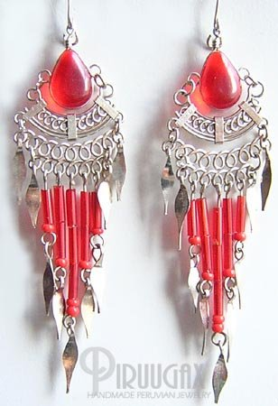 RUBY RED Silver Lucite Beads Chandelier Earrings