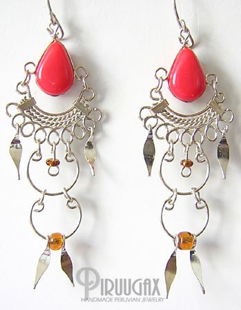 CORAL RED Silver Lucite Beads Chandelier Earrings
