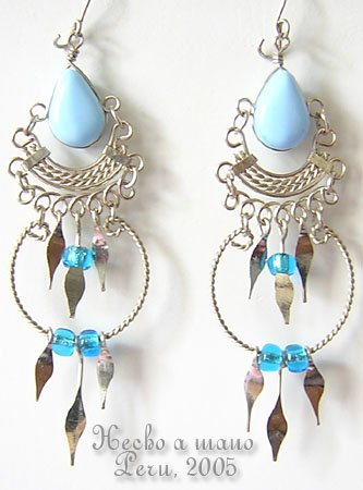 BABY BLUE Silver Lucite Beads Chandelier Earrings