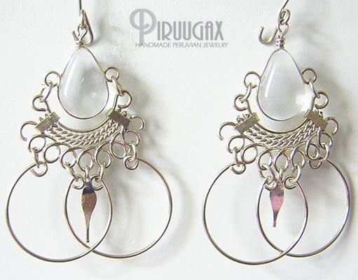 CRYSTAL Silver Lucite Beads Chandelier Earrings