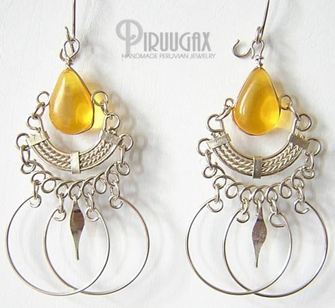 HONEY AMBER Silver Lucite Beads Chandelier Earrings
