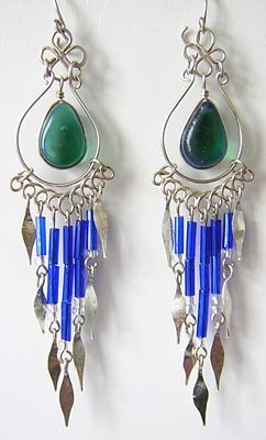 INDIAN BLUE Silver Lucite Beads Chandelier Earrings