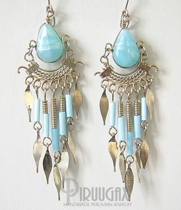 SKY BLUE Silver iridescent Lucite Beads Chandelier Earrings