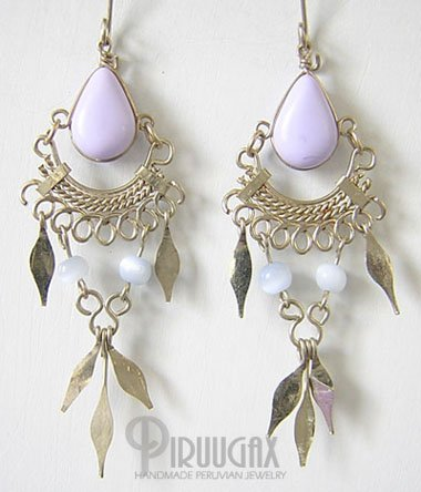 LILAC Silver Lucite Beads Chandelier Earrings