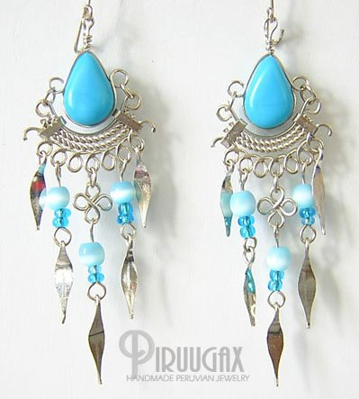 TURQUOISE Silver Lucite Beads Chandelier Earrings