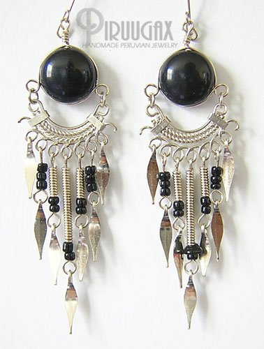 ETHNIC BLACK Gorgeous Silver Lucite beads Chandelier Earrings