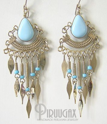 BABY BLUE CASCADE Silver Lucite Beads Chandelier Earrings