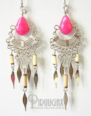 TRIBAL FUCHSIA Silver Lucite Beads Chandelier Earrings