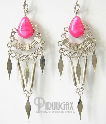 FUCHSIA Silver Lucite Beads Chandelier Earrings