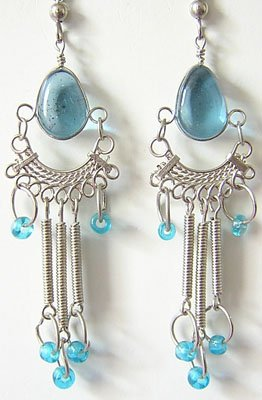 AQUAMARINE Glass Silver Chandelier Earrings