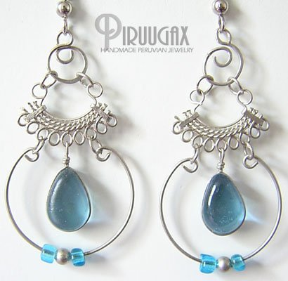 AQUAMARINE Murano Glass Silver Chandelier Earrings