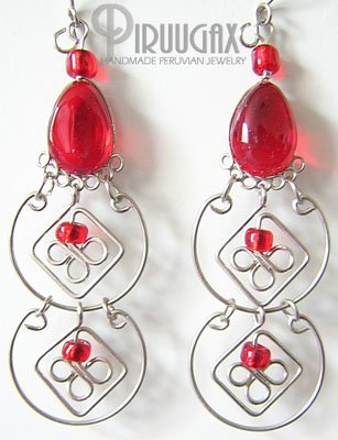 RUBY RED Murano Glass Silver Chandelier Earrings