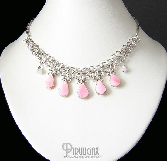 DELICATE Silver Pink Opal Necklace choker