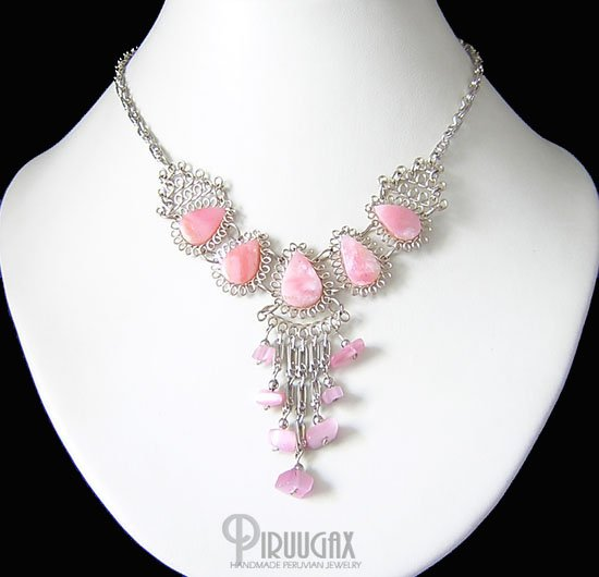 MISTS OF FABLE Silver Pink Opal Necklace Choker