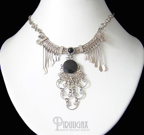 INDIAN FEATHERS Silver Black Obsidian Necklace Choker