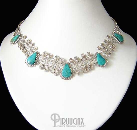 DIVINE ENCHANTMENT Silver Turquoise Necklace Choker
