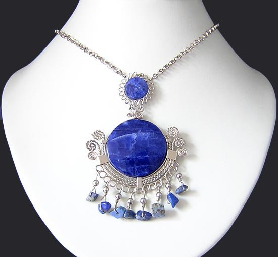 BLUE MOON Silver Lapis Sodalite Medallion Necklace Choker