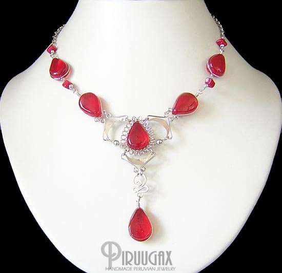 ANDEAN LOVE Silver RUBY RED Murano Glass Necklace