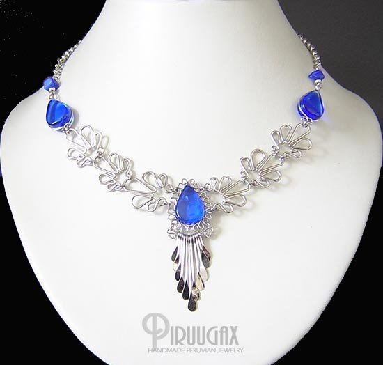 BLUE ICICLES Silver SAPPHIRE BLUE Murano Glass Necklace