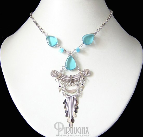 CELESTIAL BLUE Silver Topaz  Murano Glass Necklace