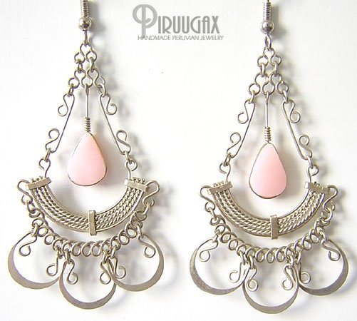 STUNNING Pink Opal Silver Chandelier Earrings