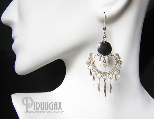 INDIAN FEATHERS  BLACK OBSIDIAN Silver Chandelier Earrings