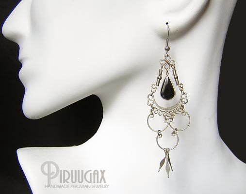 INDIAN SPIRIT Black Obsidian Silver Chandelier Earrings