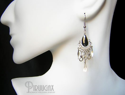 BEAUTY Black Obsidian Silver Chandelier Earrings