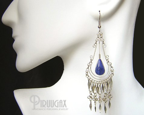INDIAN TEARS Lapis Sodalite Silver Chandelier Earrings