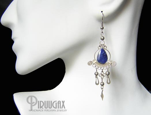 INDIAN SOUL Lapis Sodalite Silver Chandelier Earrings