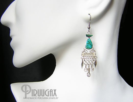 NATIVE SOUL Turquoise Silver Chandelier Earrings