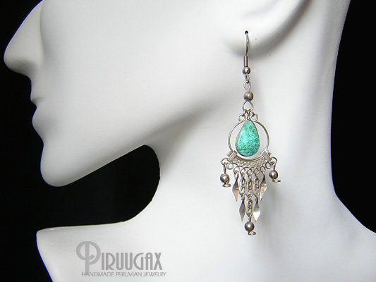 GREEN WATERFALL Turquoise Silver Chandelier Earrings