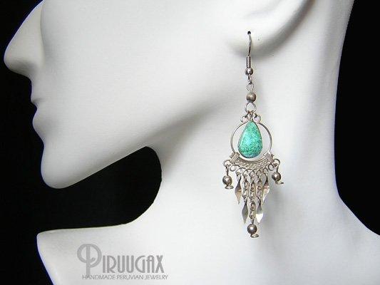 GREEN WATERFALL Turquoise Silver Chandelier Earrings