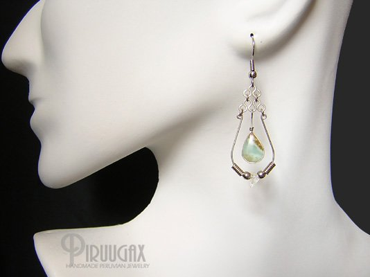 FANTASY Blue Opal Silver Chandelier Earrings