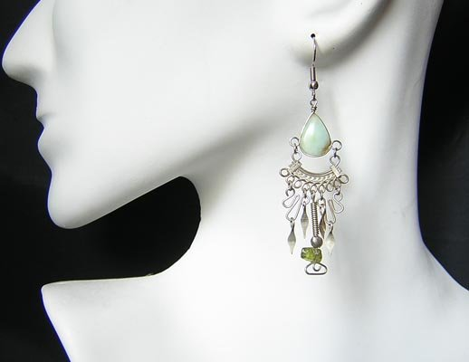 ANDEAN ROMANCE Blue Opal Silver Chandelier Earrings