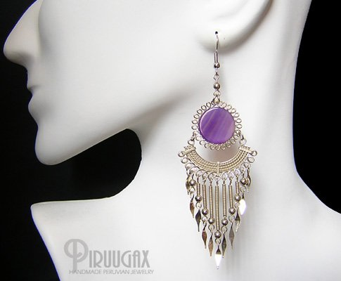 FESTIVITY Purple Agate Silver Chandelier Earrings
