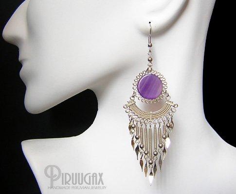 FESTIVITY Purple Agate Silver Chandelier Earrings