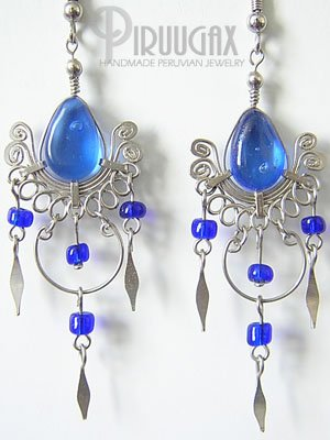 SAPPHIRE BLUE Murano Glass Silver Chandelier Earrings