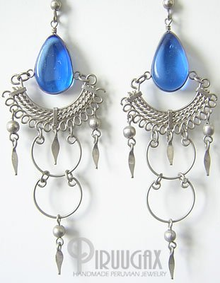 INDIAN BLUE Murano Glass Silver Chandelier Earrings