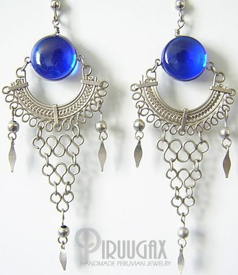 BLUE STREAM  Murano Glass Silver Chandelier Earrings