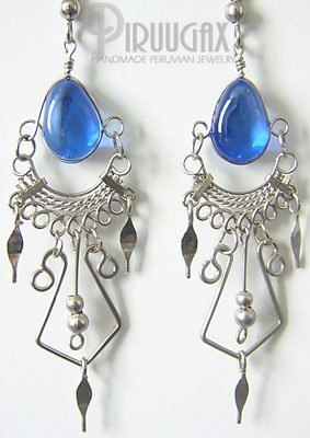 INDIAN PRINCESS Murano Glass Silver Chandelier Earrings